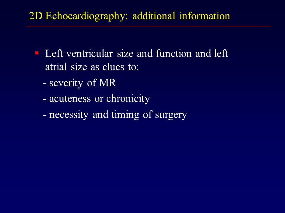 2D Echocardiography: additional information