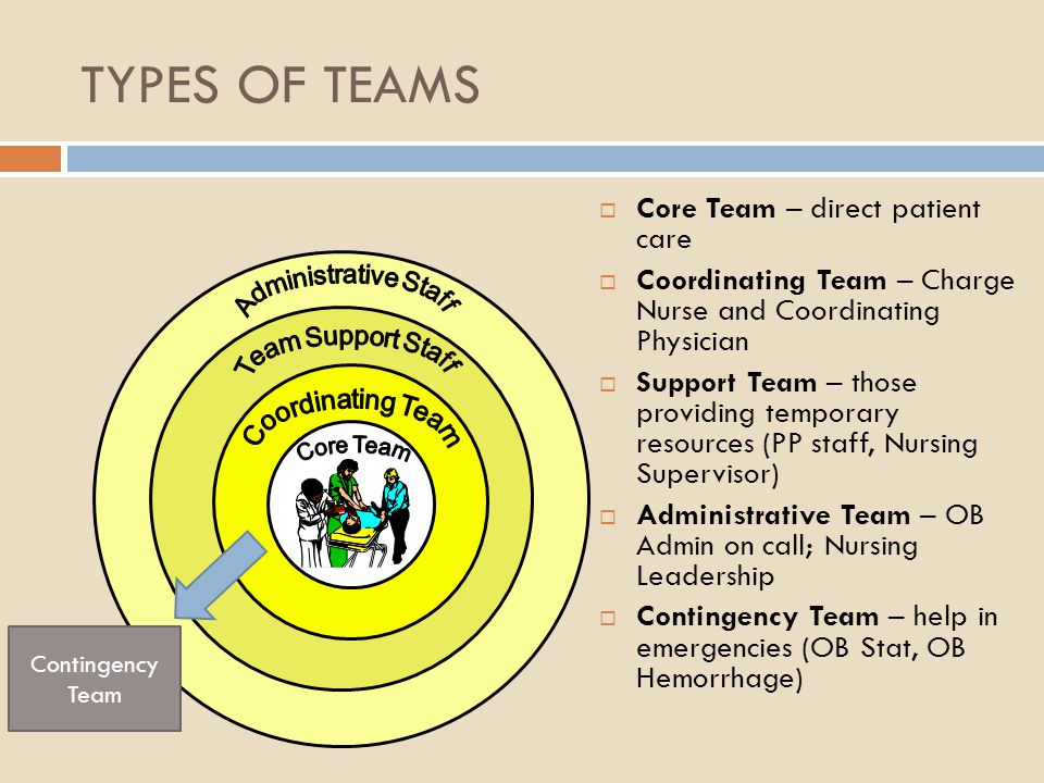 TYPES OF TEAMS Core Team – direct patient care