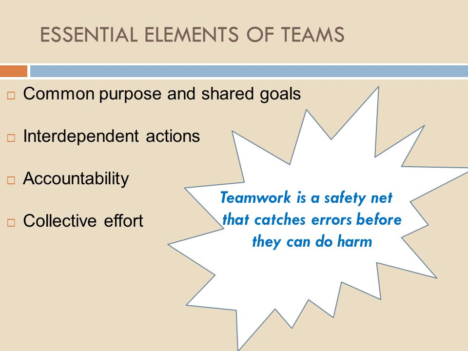 ESSENTIAL ELEMENTS OF TEAMS