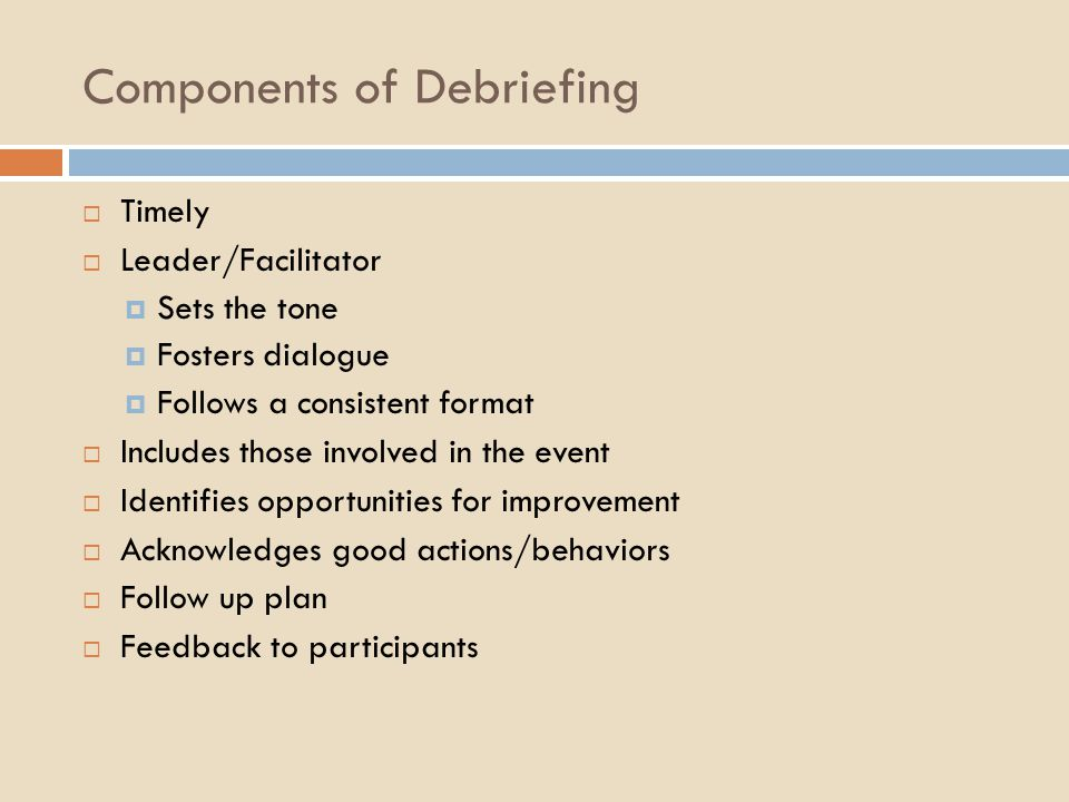 Components of Debriefing