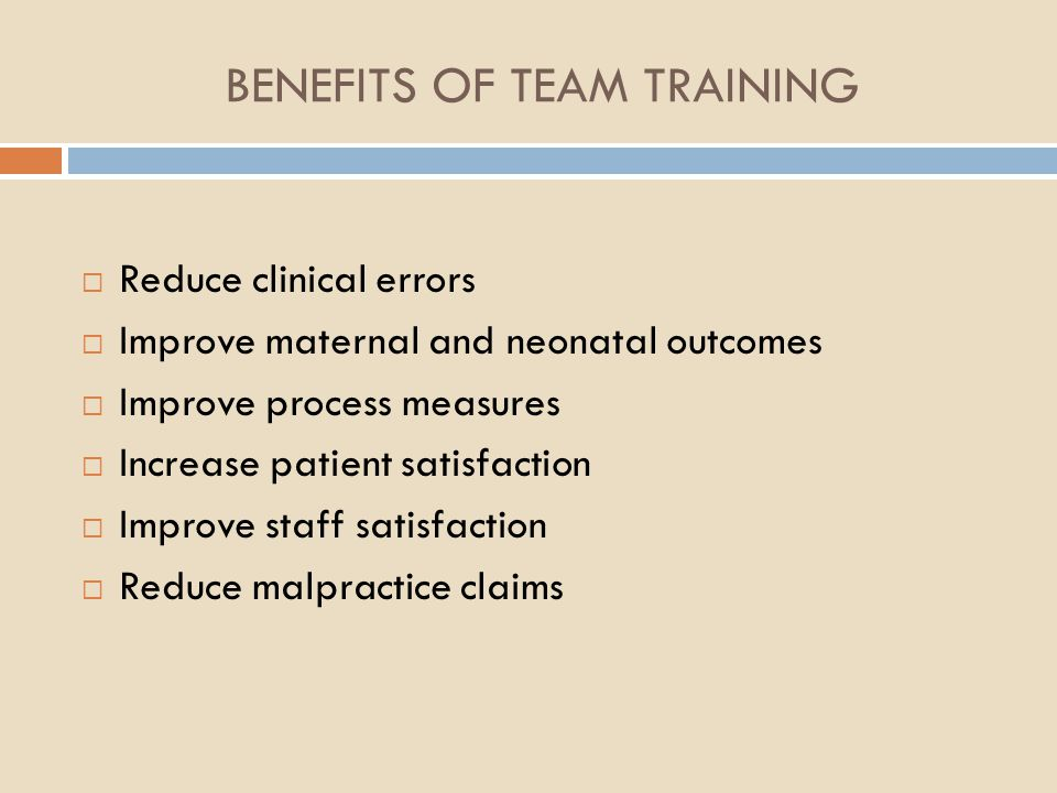 BENEFITS OF TEAM TRAINING