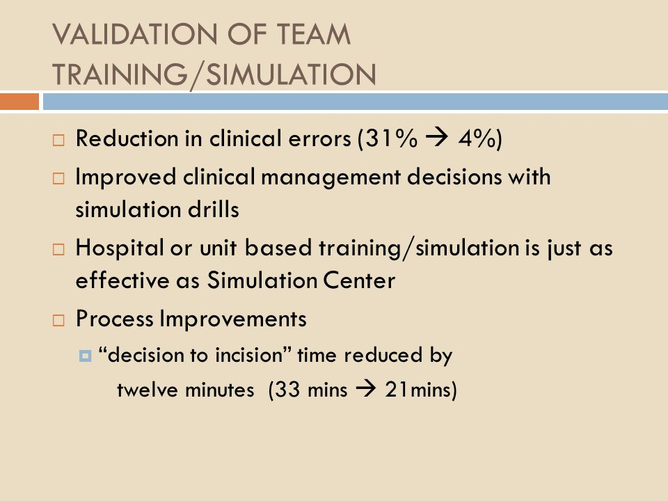 VALIDATION OF TEAM TRAINING/SIMULATION