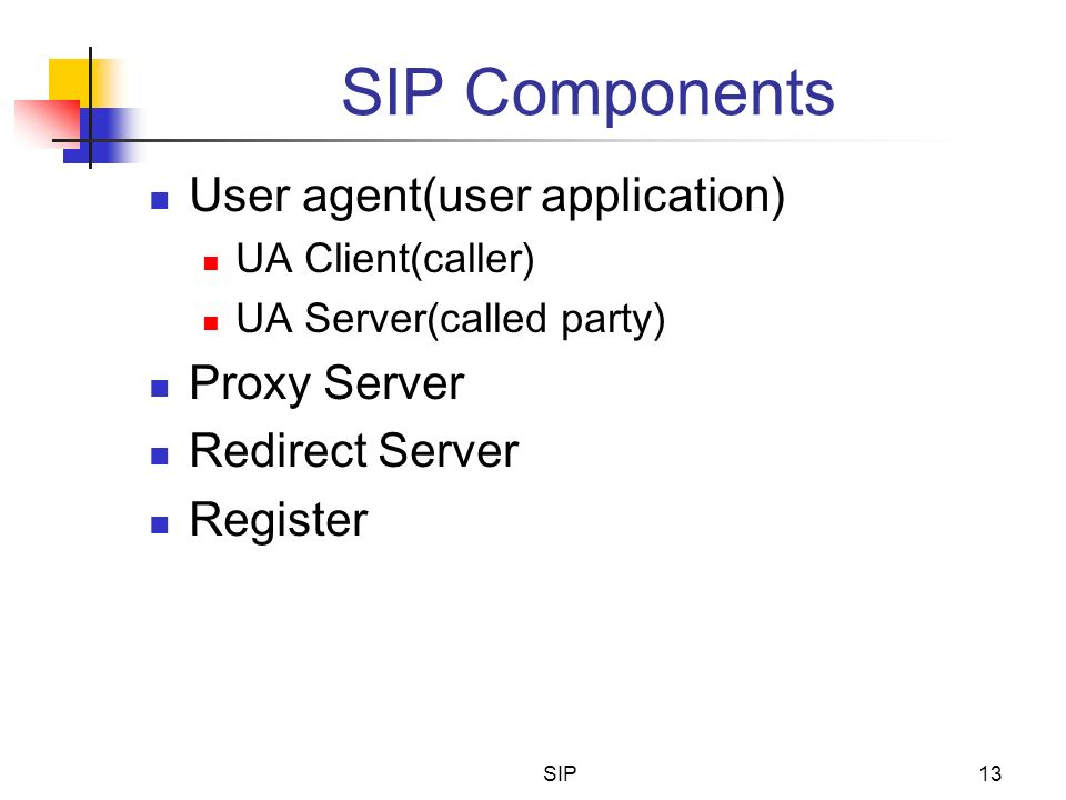 SIP Components User agent(user application) Proxy Server