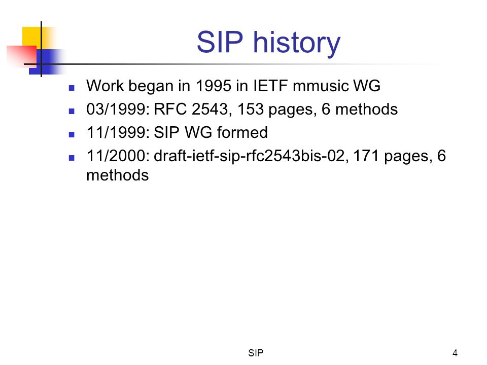SIP history Work began in 1995 in IETF mmusic WG