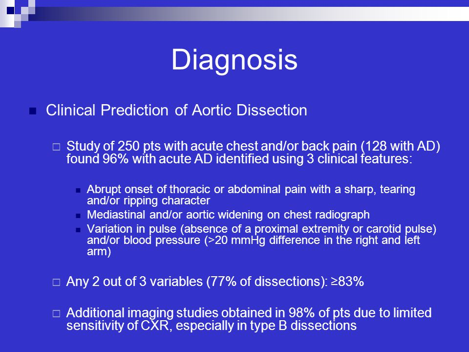 Diagnosis Clinical Prediction of Aortic Dissection