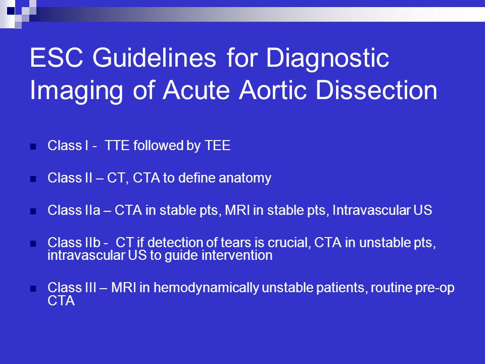 ESC Guidelines for Diagnostic Imaging of Acute Aortic Dissection
