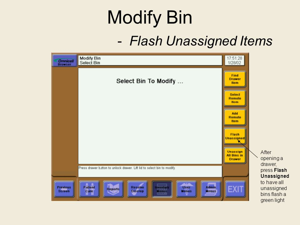 Modify Bin - Flash Unassigned Items