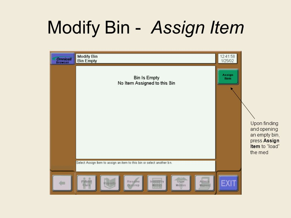 Modify Bin - Assign Item