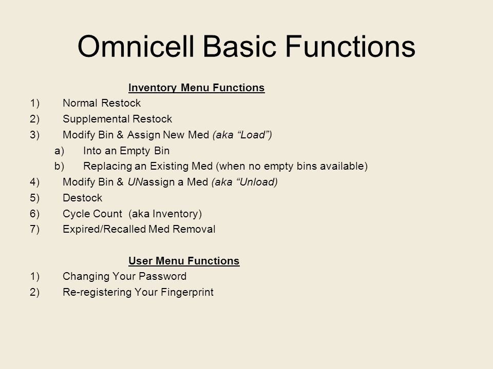 Omnicell Basic Functions
