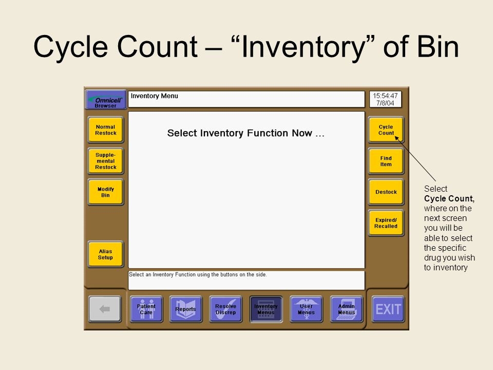 Cycle Count – Inventory of Bin