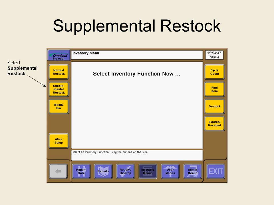 Supplemental Restock Select Supplemental Restock