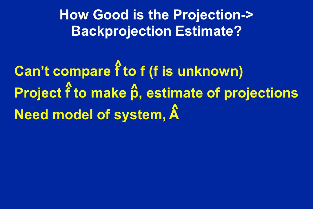 How Good is the Projection-> Backprojection Estimate