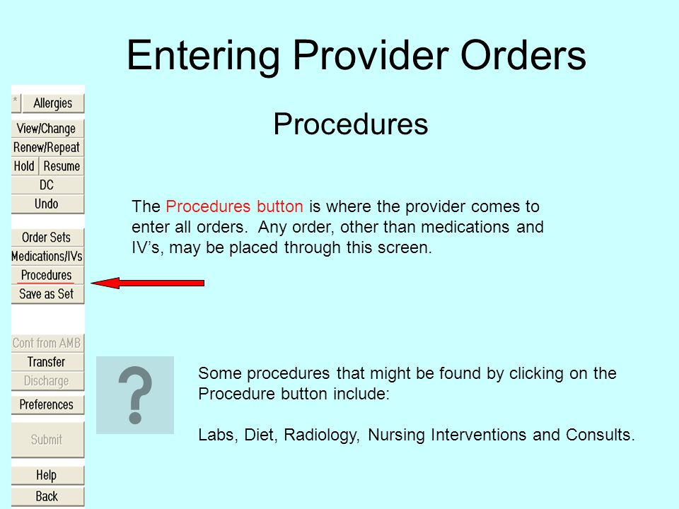 Entering Provider Orders