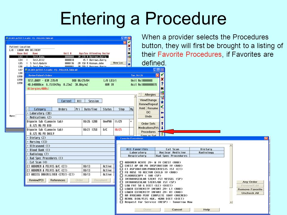 Entering a Procedure