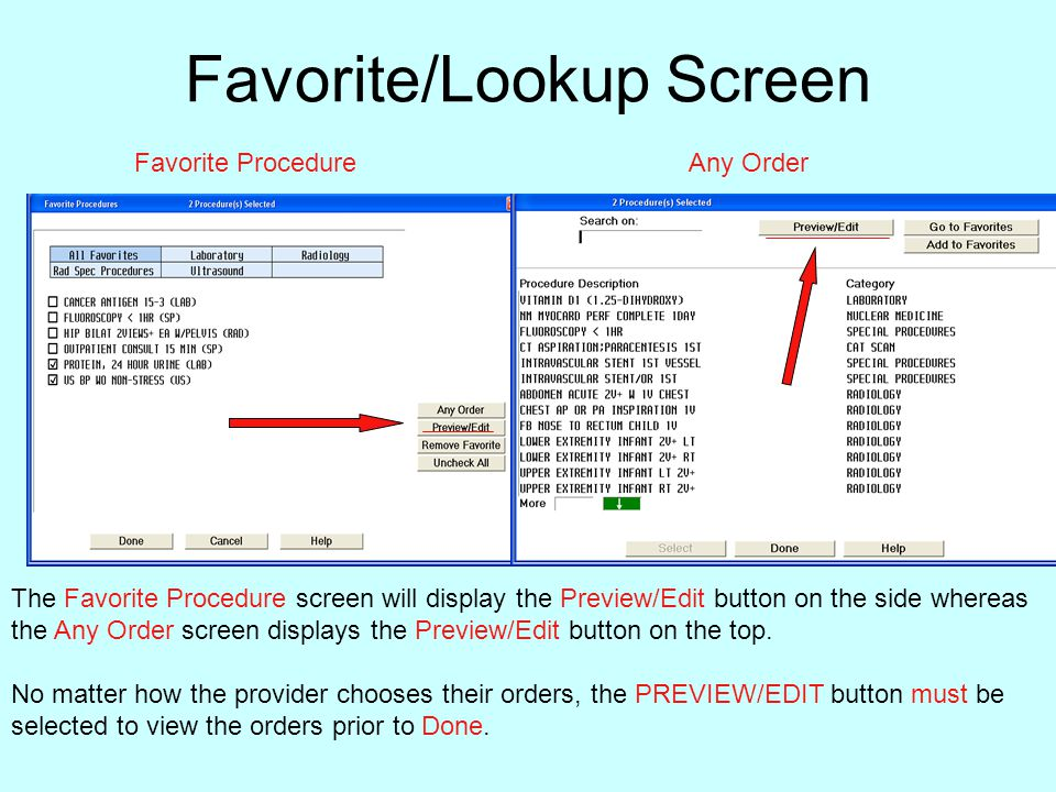 Favorite/Lookup Screen