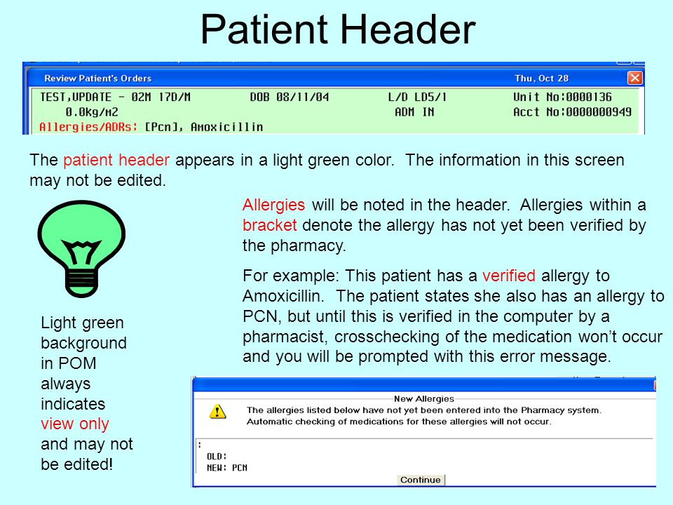 Patient Header The patient header appears in a light green color. The information in this screen may not be edited.