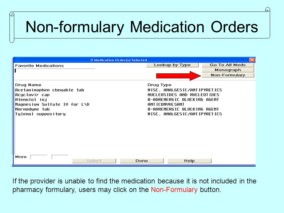 Non-formulary Medication Orders