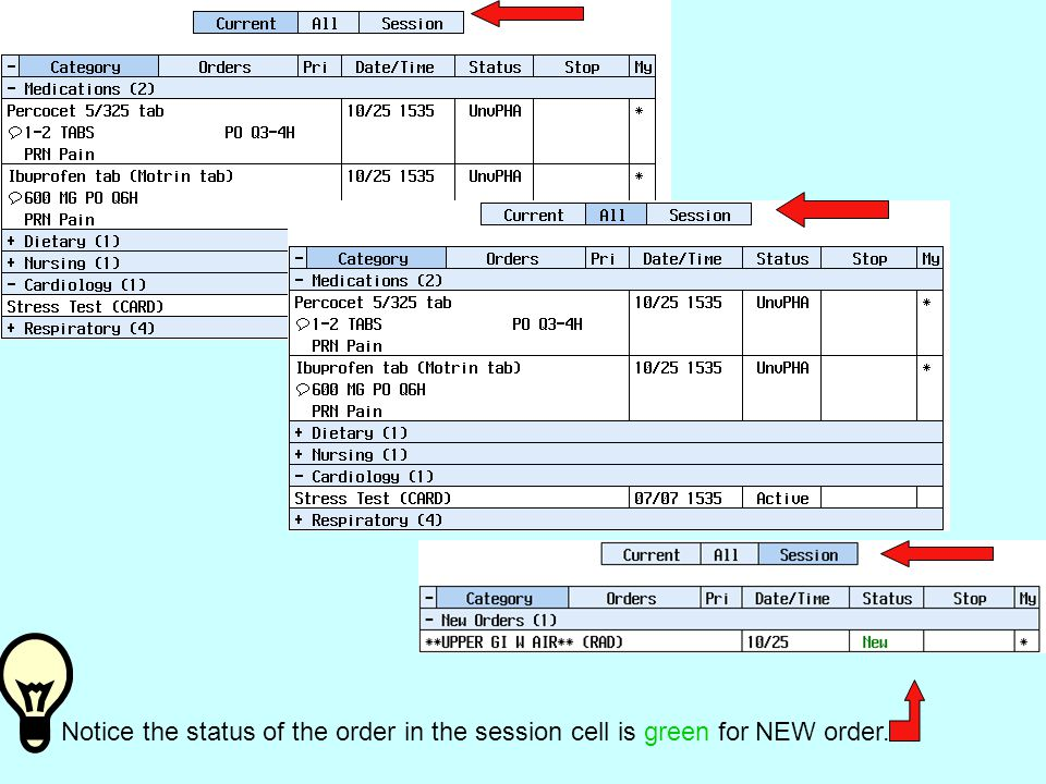 Notice the status of the order in the session cell is green for NEW order.