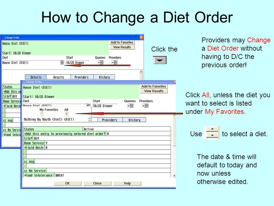 How to Change a Diet Order