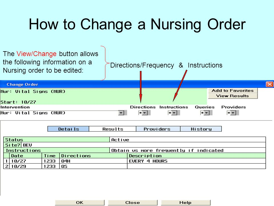 How to Change a Nursing Order
