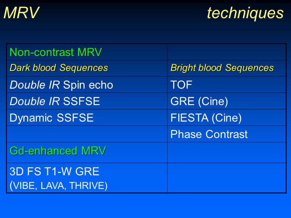 MRV techniques Non-contrast MRV Double IR Spin echo TOF