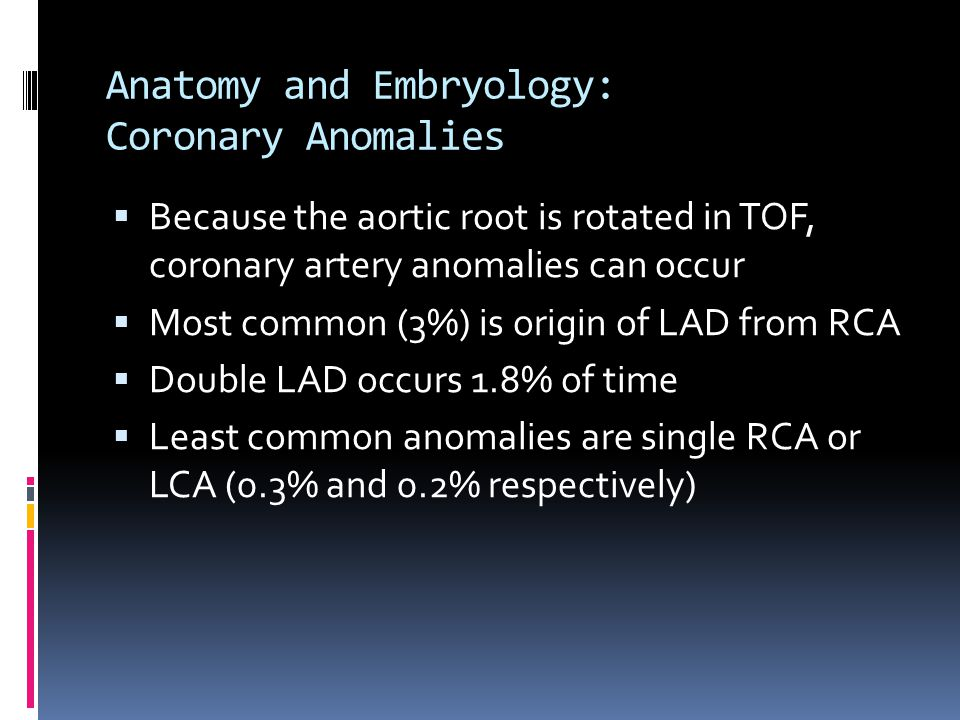 Anatomy and Embryology: Coronary Anomalies