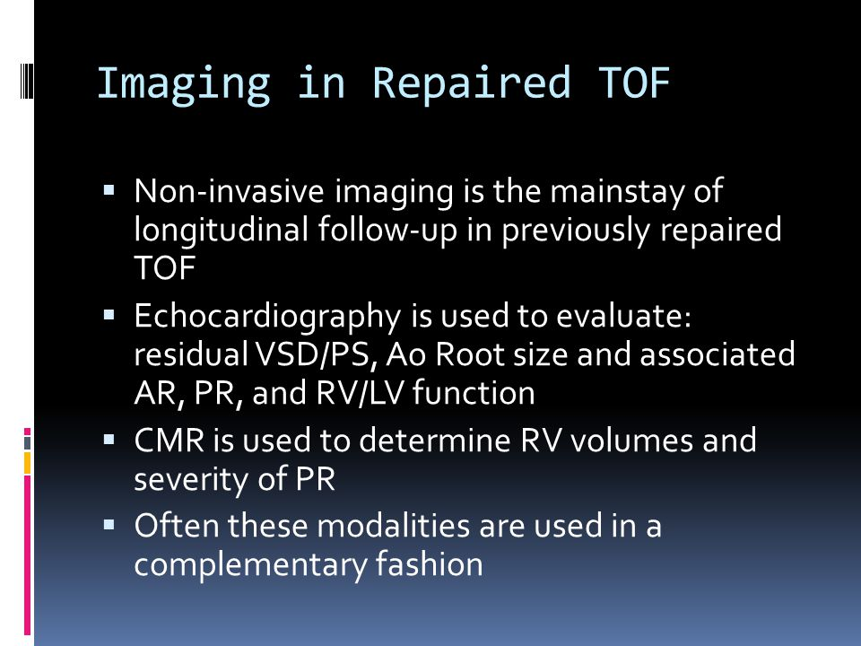 Imaging in Repaired TOF