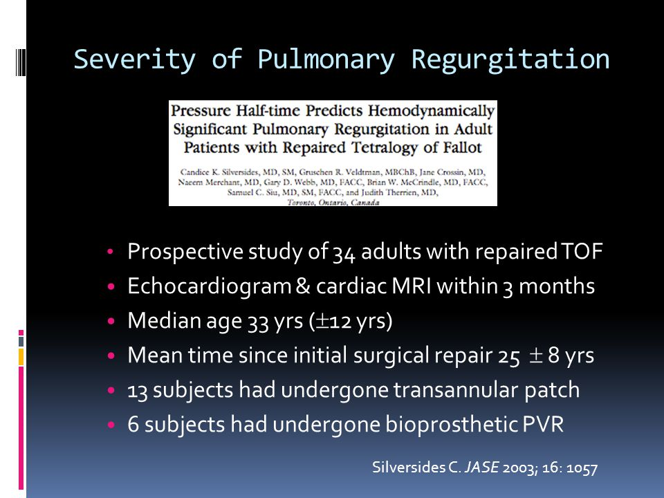 Severity of Pulmonary Regurgitation