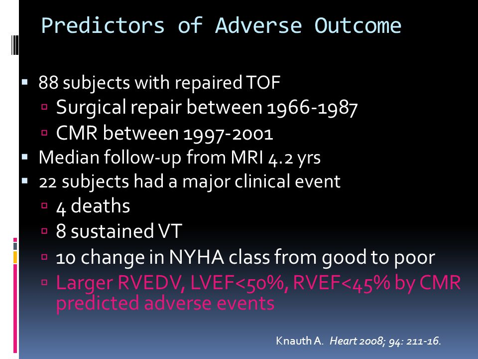 Predictors of Adverse Outcome