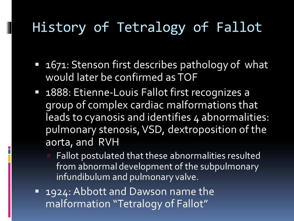 History of Tetralogy of Fallot