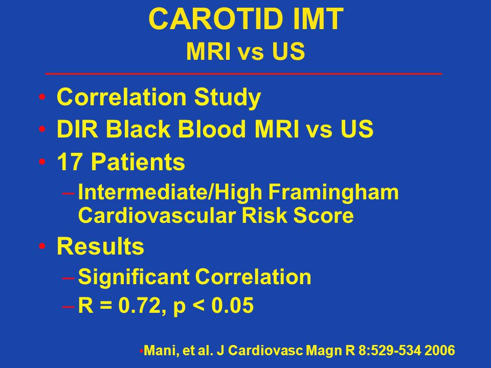 CAROTID IMT MRI vs US Correlation Study DIR Black Blood MRI vs US