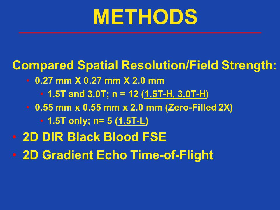 METHODS Compared Spatial Resolution/Field Strength: