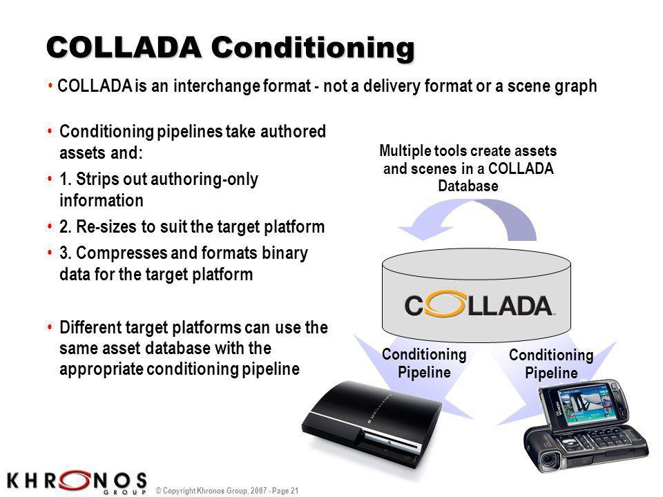 COLLADA Conditioning Conditioning pipelines take authored assets and: 1. Strips out authoring-only information.