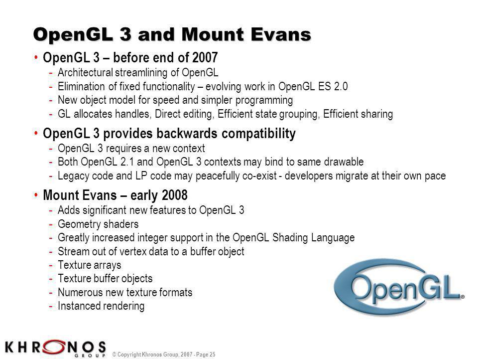 OpenGL 3 and Mount Evans OpenGL 3 – before end of 2007