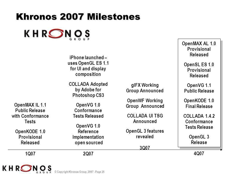 Khronos 2007 Milestones OpenMAX AL 1.0 Provisional Released