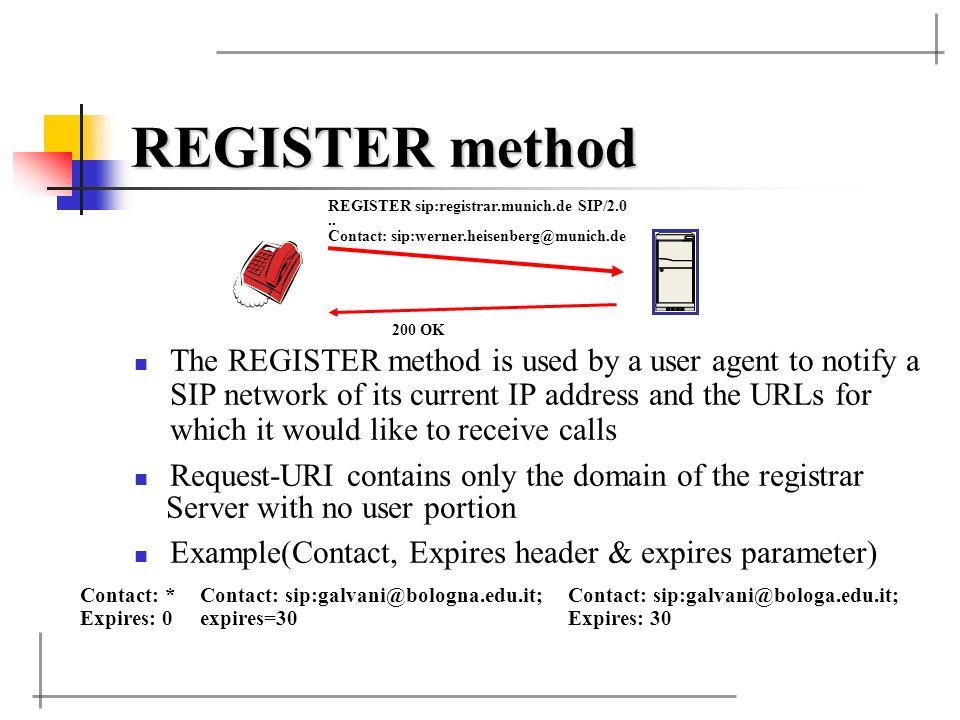 REGISTER method REGISTER sip:registrar.munich.de SIP/2.0. .. Contact: sip:werner.heisenberg@munich.de.