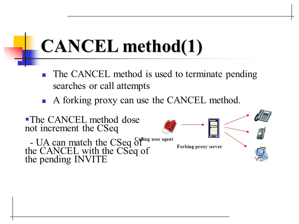 CANCEL method(1) The CANCEL method is used to terminate pending searches or call attempts. A forking proxy can use the CANCEL method.