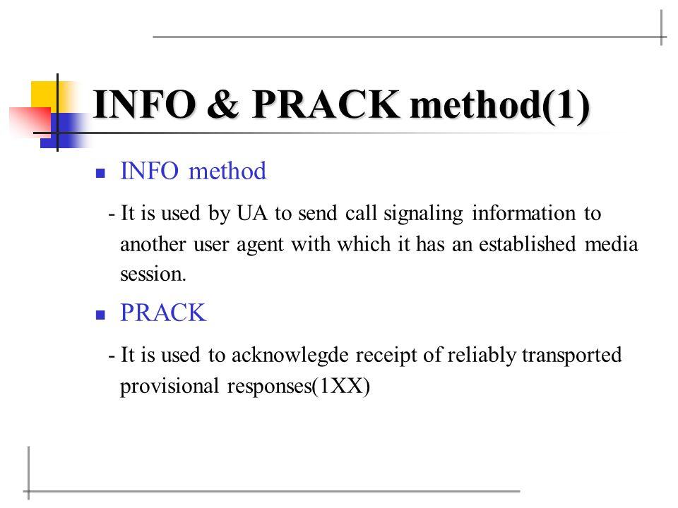 INFO & PRACK method(1) INFO method