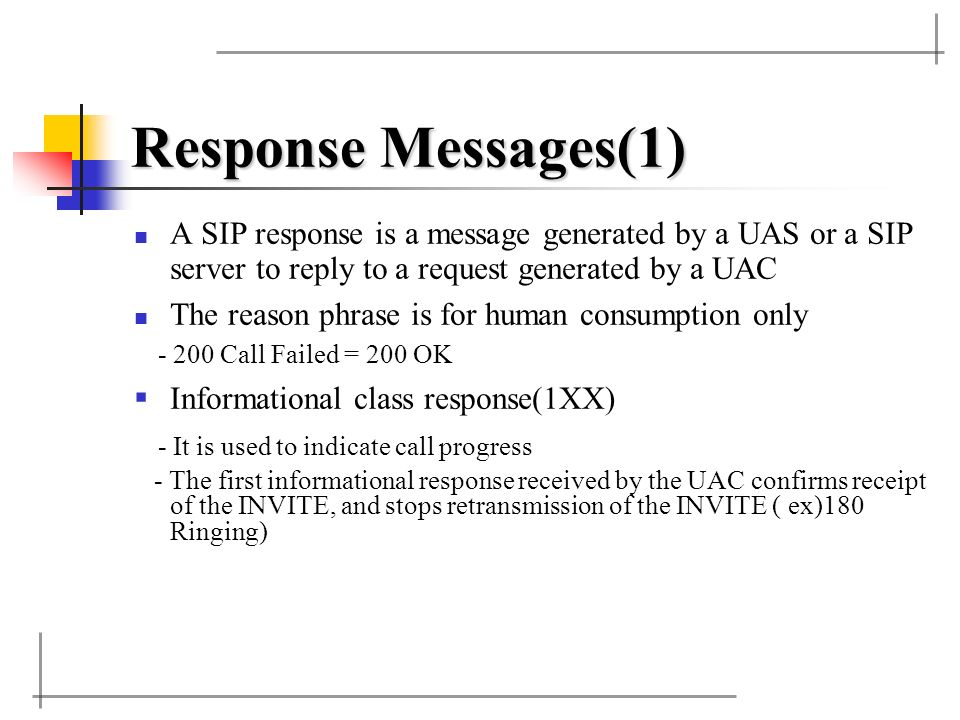 Response Messages(1) A SIP response is a message generated by a UAS or a SIP server to reply to a request generated by a UAC.