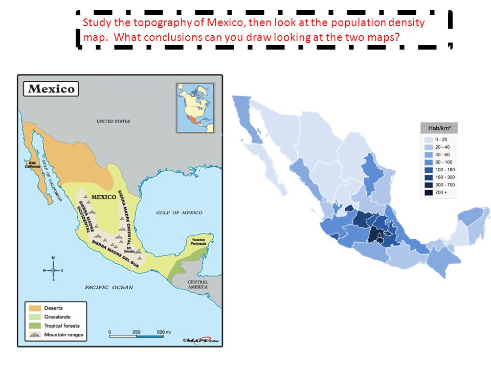 Study the topography of Mexico, then look at the population density map.