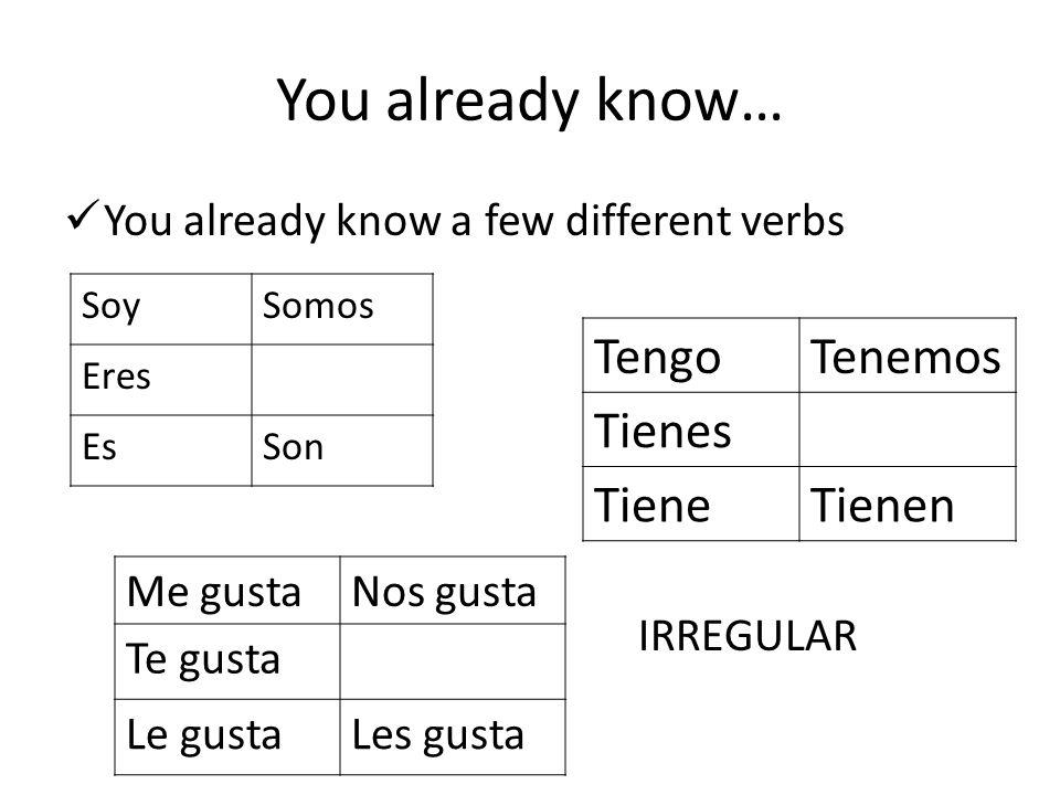 You already know… Tengo Tenemos Tienes Tiene Tienen