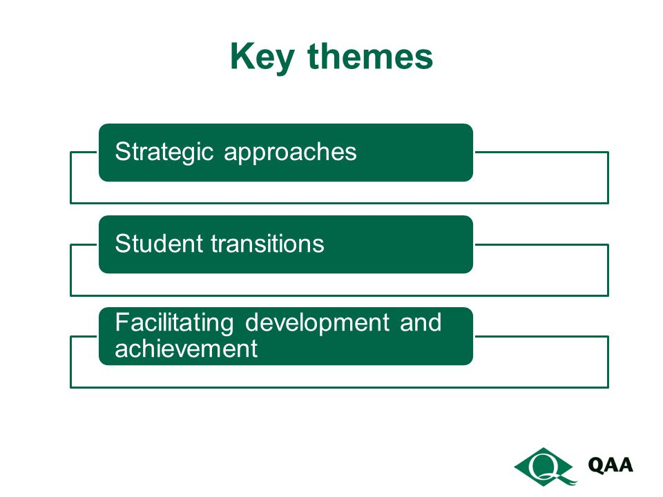 Key themes Strategic approaches Student transitions