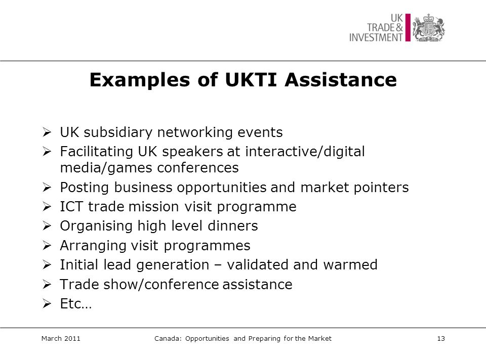 Examples of UKTI Assistance