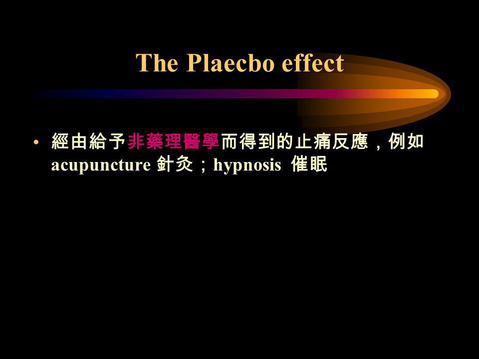 The Plaecbo effect 經由給予非藥理醫學而得到的止痛反應,例如acupuncture 針灸;hypnosis 催眠