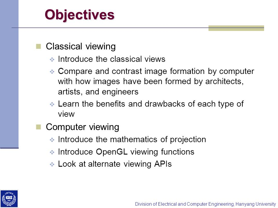 Objectives Classical viewing Computer viewing