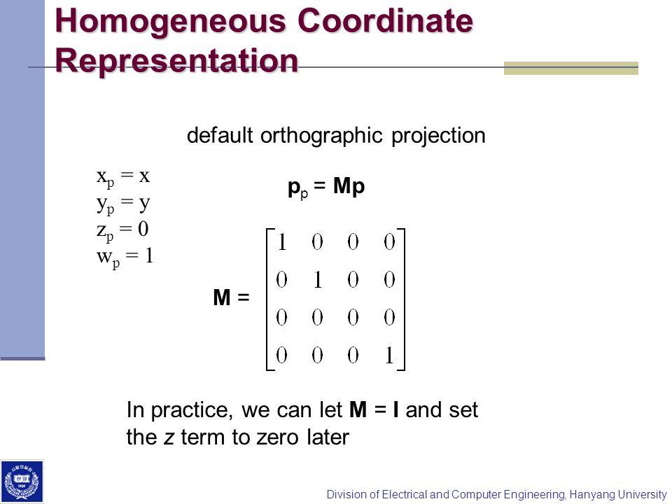 Homogeneous Coordinate Representation