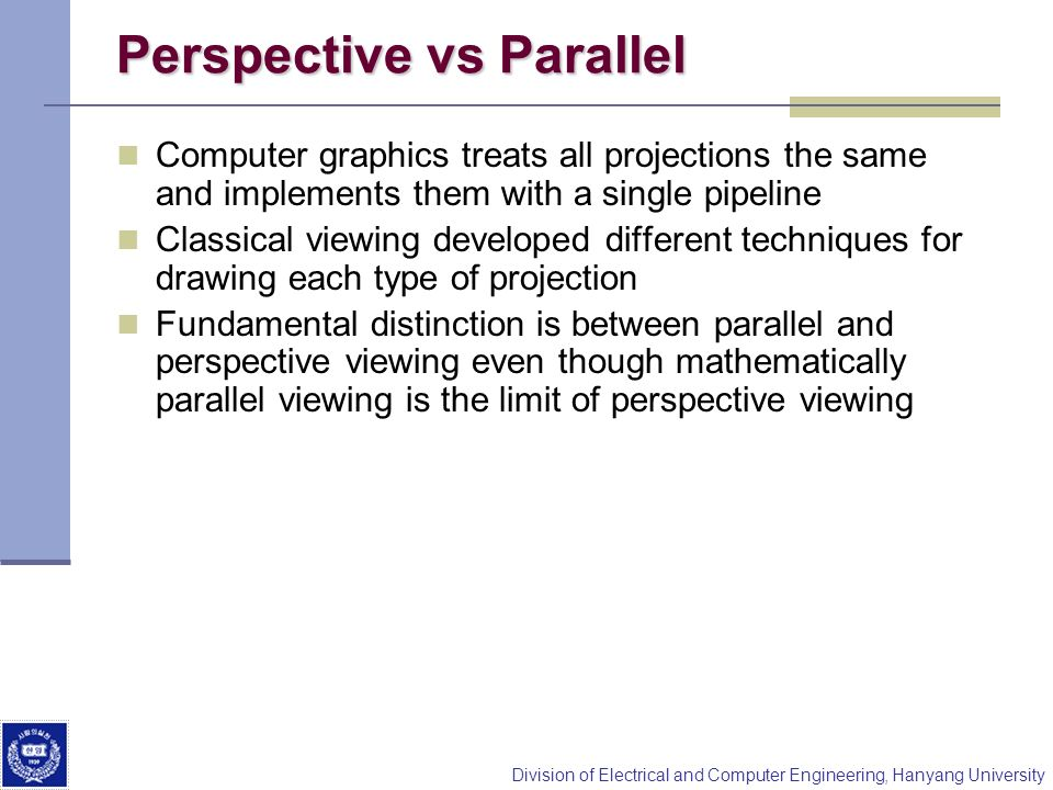 Perspective vs Parallel
