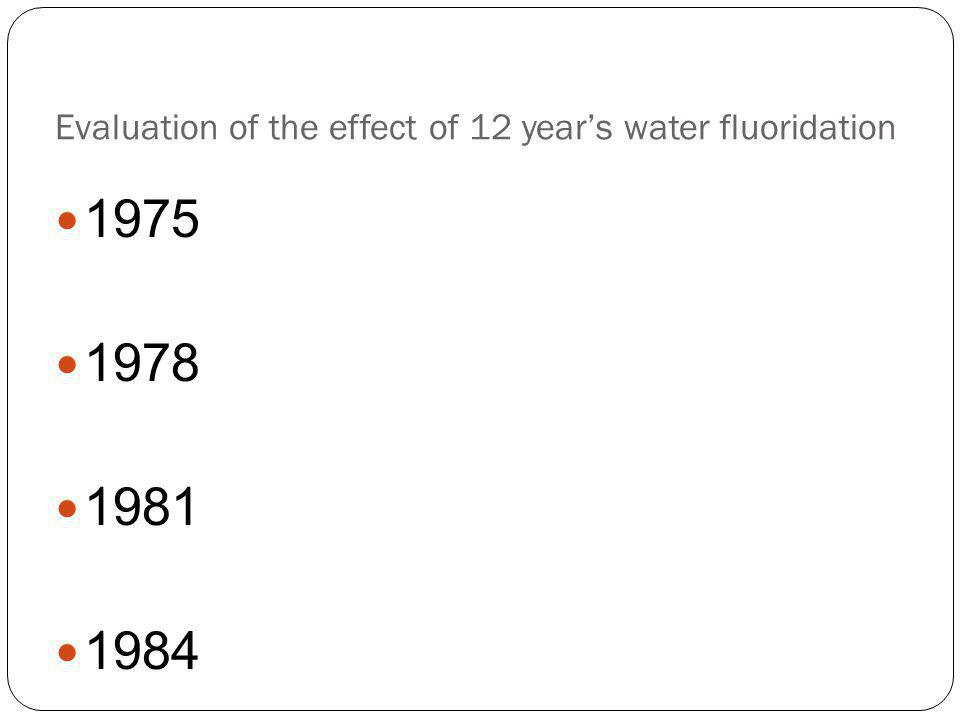 Evaluation of the effect of 12 year's water fluoridation