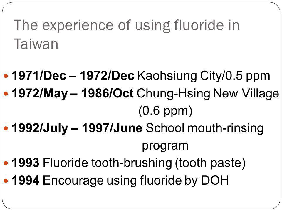 The experience of using fluoride in Taiwan