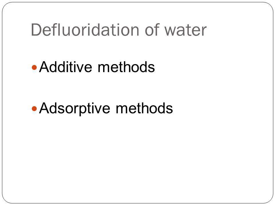 Defluoridation of water